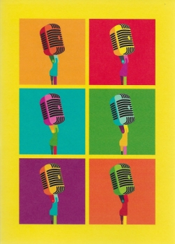 Pop Art: Microphone - Greeting Card