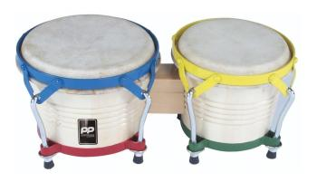 Natural Wood Bongos - Coloured Hardware