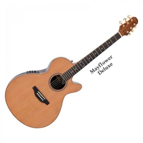 Pilgrim Mayflower Deluxe Electro Guitar Natural with Bag
