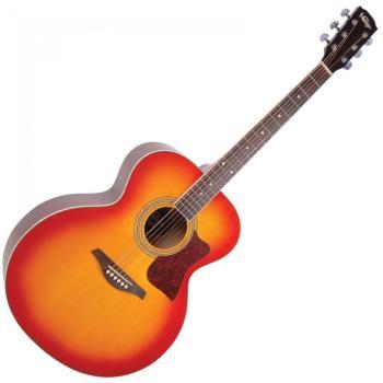Vintage VJ100CSB Jumbo Guitar, Cherry Sunburst