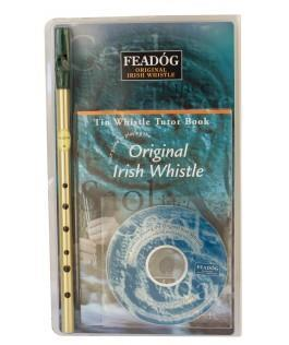 Feadog Irish Whistle D Brass, Tutor Book and CD