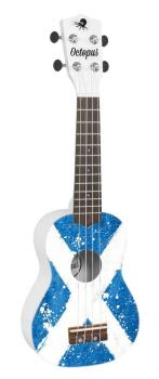 Octopus Soprano Ukulele Outfit in Saltaire Design, White Back and Sides with Black Bag