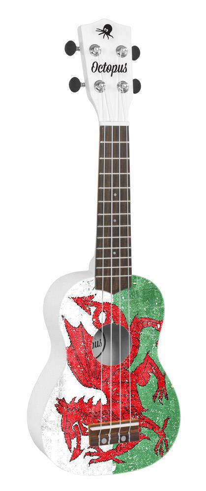 Soprano Ukulele Outfit in Union Jack Design, Red Back and Sides with Black