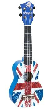 Soprano Ukulele Outfit in Union Jack Design, Blue Back and Sides with Black Bag