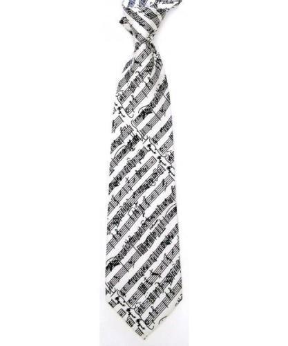 Silk Tie - White Black Music