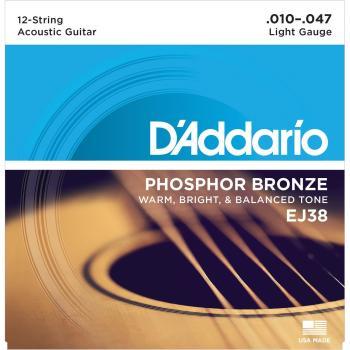 D'Addario 12 String Acoustic Set Phosphor Bronze Lite