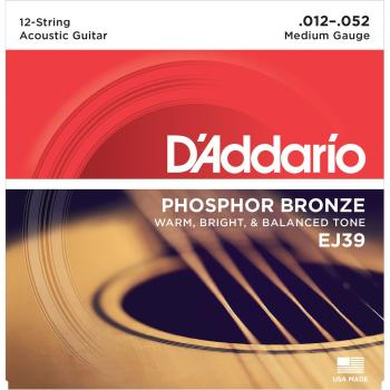 D'Addario 12 String Acoustic Set Phosphor Bronze Medium