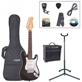 Encore 3/4 Size Electric Guitar Outfit - Gloss Black
