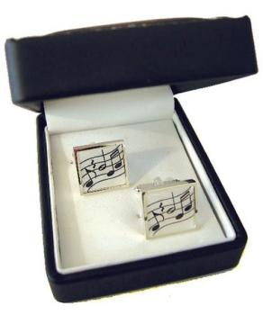 Music Gifts Wavy Music Silver Plated Cufflinks