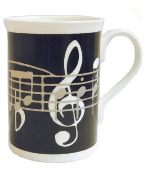 Music Gifts Black Music Notes Bone China Mug