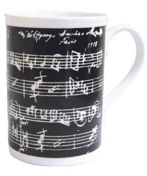 Music Gifts Black Manuscript Bone China Mug