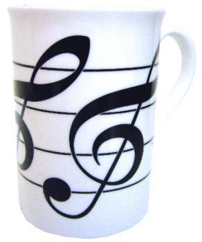 Music Gifts Three Treble Clef Bone China Mug