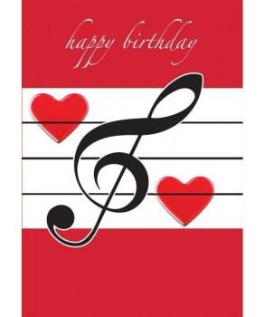 Music Gifts Happy Birthday Card - Red