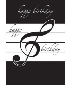 Music Gifts Happy Birthday Card - Black