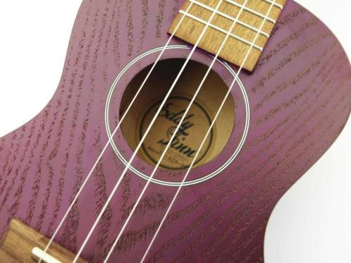 Eddy Finn Natural Ash Concert Ukulele - Purple Finish
