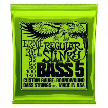 Ernie Ball Guitar Strings Nickel Bass 5 Regular Slinky Set 45-130