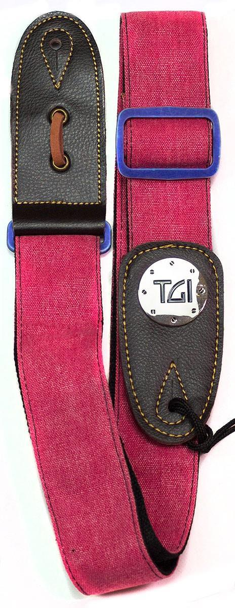 TGI Guitar Strap Woven Red Denim Blue Buckle