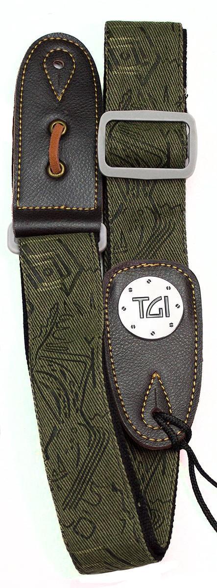 TGI Guitar Strap Woven Green Pattern Denim Grey Buckle