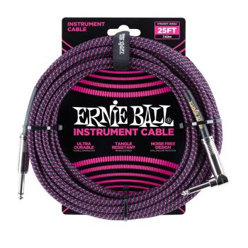 Ernie Ball 25ft Lead Straight-Angle Braided - Black/Purple
