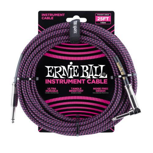 Ernie Ball 25ft Lead Straight-Angle Braided - Black/Purple