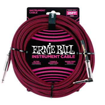 Ernie Ball 25ft Lead Straight-Angle Braided - Red