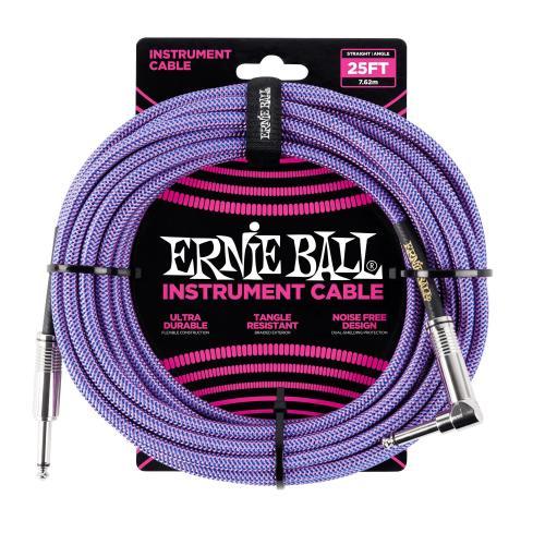 Ernie Ball 25ft Lead Straight-Angle Braided - Purple/Blue