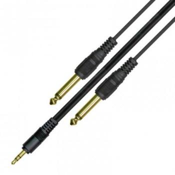 Kinsman Soundcard Cable 10ft 3.5mm stereo to 2 x 6.35mm jack plugs