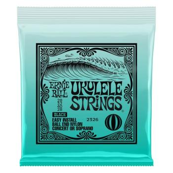 Ernie Ball Concert/Soprano Nylon Ball End Ukulele String Set - Black