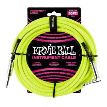 Ernie Ball 10ft Lead Straight-Angle Braided - Yellow