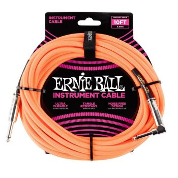 Ernie Ball 10ft Lead Straight-Angle Braided - Orange