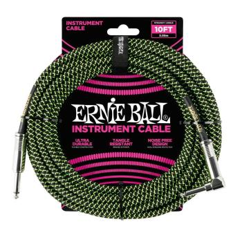 Ernie Ball 10ft Lead Straight-Angle Braided - Black/Green