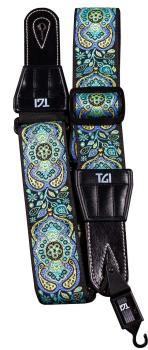 TGI Guitar Strap Woven Cotton Persian Stitch - Purple & Yellow