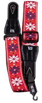 TGI Guitar Strap Woven Cotton Flowers Stitch -Red