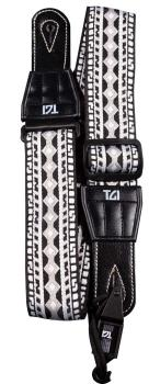 TGI Guitar Strap Woven Cotton Aztec Stitch - Black & White