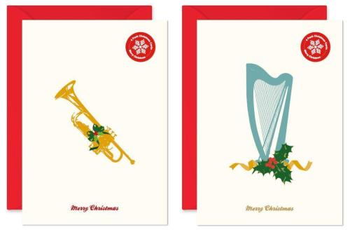 My World Xmas Card - Pack Of 6 - Harp/Trumpet