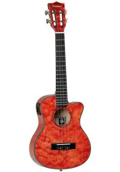 Tanglewood Tenor Cut Ukulele - Quilted Maple Tuscan Sunset Red Gloss EQ
