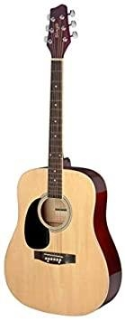 Stagg 3/4 natural dreadnought acoustic guitar with basswood top, left-handed model
