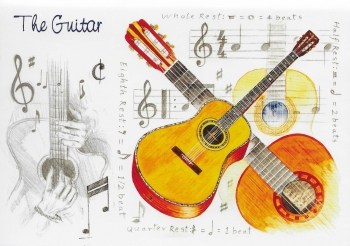 Little Snoring Gifts: 7x5 Greetings Card - Guitar Design