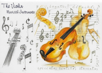 Little Snoring Gifts: 7x5 Greetings Card - Violin Design