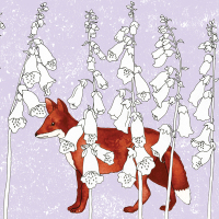 Foxgloves and Fox Greetings Card
