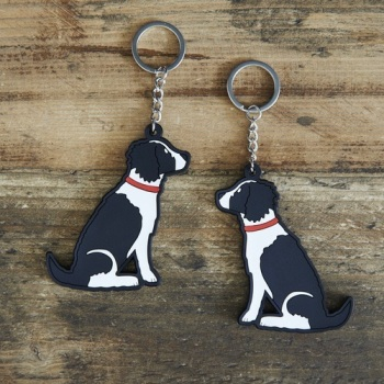 Black & White Springer Spaniel Key Ring