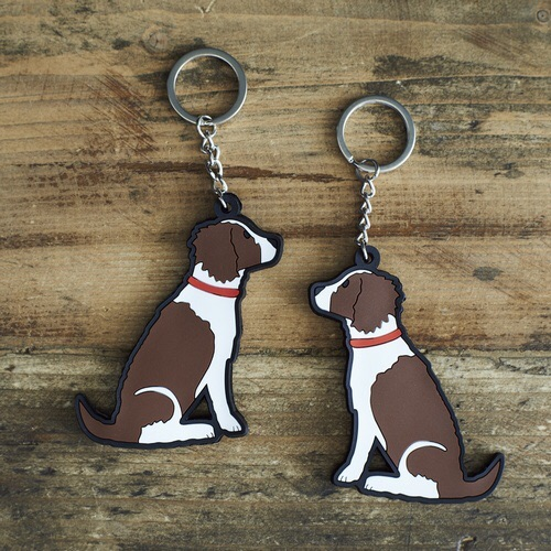 Liver & White Springer Spaniel Key Ring