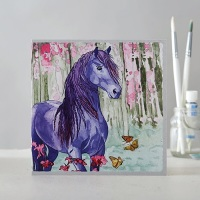 Purple Horse with Butterflies Card