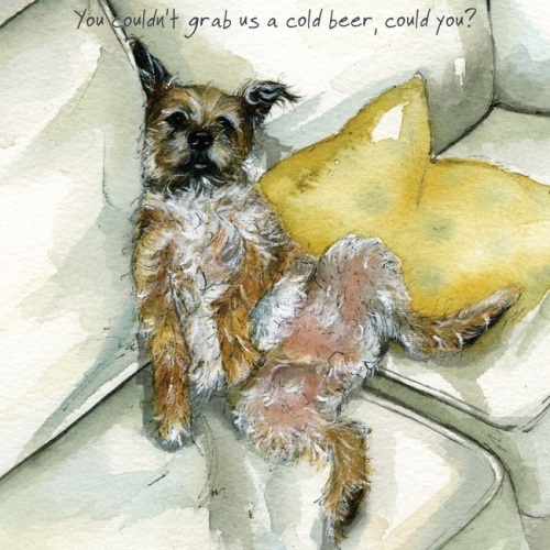 Cold Beer Border Terrier Card
