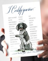 I Certify...Black & White Springer Spaniel Card