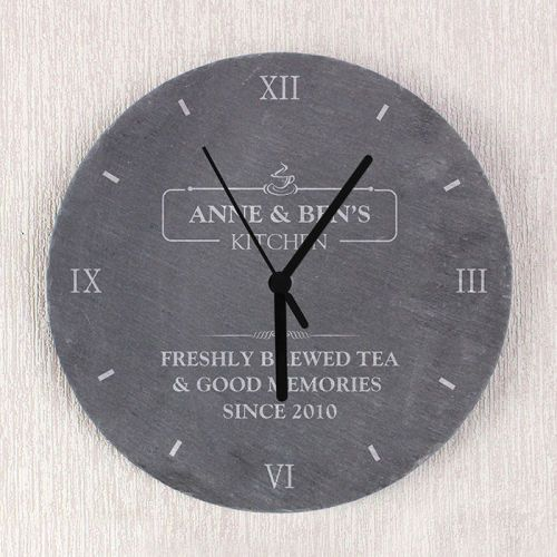 clock kitchen slate personalised
