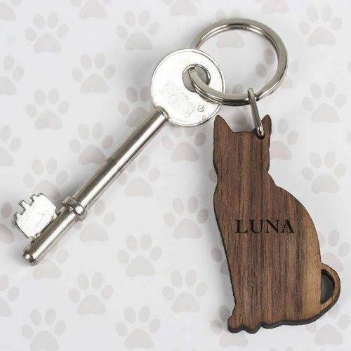 keyring cat walnut wood personalised