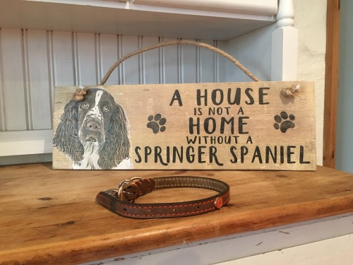 A House is not a Home Springer Spaniel Wooden Hanging Sign
