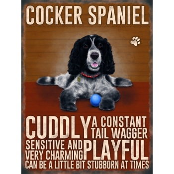 Roan Cocker Spaniel Metal Sign