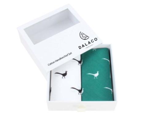 Green and White Pheasant Print Handkerchief Set